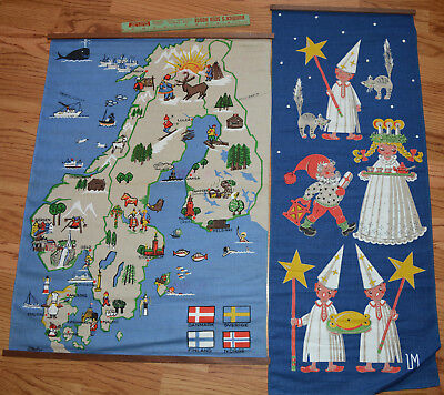 "1960's Sweden Wall Hangings Souvenirs Linen Christmas 34.5"" & 29"" Long NOS NEW"