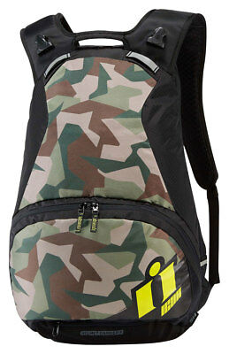ICON Stronghold Motorcycle Backpack w/ Laptop Compartment (Black/Camo/ Hi-Viz)