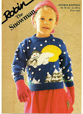 the snowman jumper Christmas childs vintage knitting pattern 99p