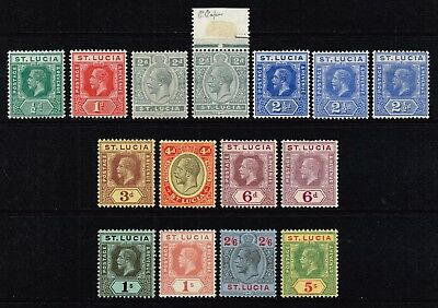 St. Lucia 1912-21 King George V set to 5s., MH (SG#78/88)