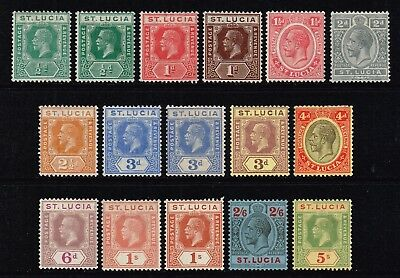 St. Lucia 1921-30 King George V set to 5s., MH (SG#91/105)