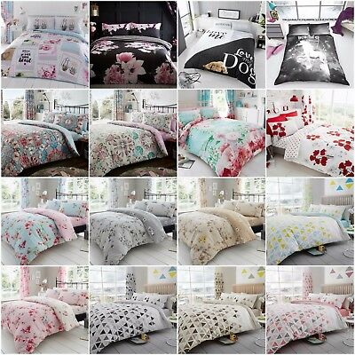 Duvet Cover Quilt Bedding Set With Pillow Case Single Double King Size
