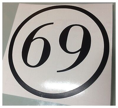 Motorbike scooter Decals numbers various colours finish  Sticker Decals 10cms x2