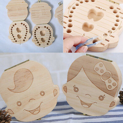 Boy Girl Image Wood Baby Tooth Box Deciduous Souvenir Box 5 Language For Choice