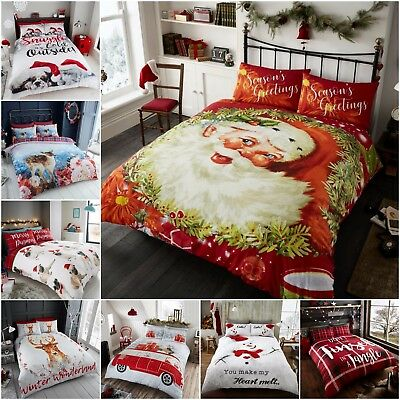 Traditional Christmas Bedding Set Duvet Quilt Cover With Pillow Case Double King