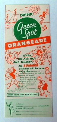 GREEN SPOT ORANGEADE DRINK ADVERTISING ORDER FORM SPORT #sm88