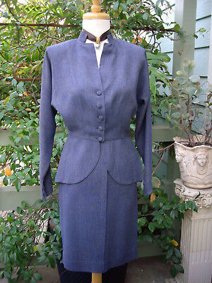 Vintage 1940s Womens Suit Peplum jacket Pencil skirt Tailored Small MINT