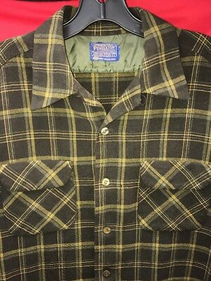 "Vtg 50's Pendleton Plaid Wool Shirt~Large~Charcoal & Chartreuse~12"" Sleeves"