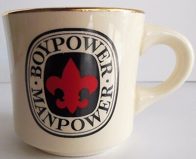 Vintage Boy Scouts Mug BSA Boy Power Man Power Gold Rim Made in USA