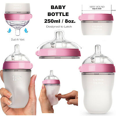 Comotomo Baby Bottle Green 8 oz Hygienic Silicone Microwave Dishwasher Safe Pink