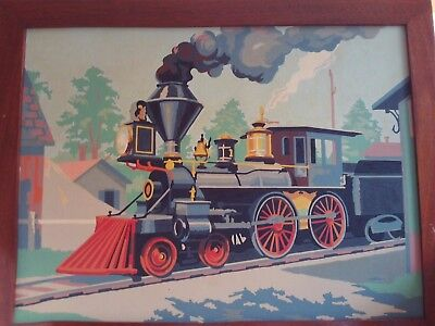 VINTAGE PAINT BY numbers train painting railroad steam engine