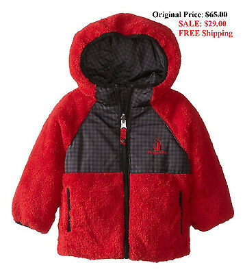 Rugged Bear Reversible Coat Baby Sherpa Hooded Red Jacket Toddler Size 18M NEW