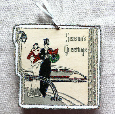 Glittered Wooden Christmas Ornament~Art Deco Greetings~Vintage Card Image~
