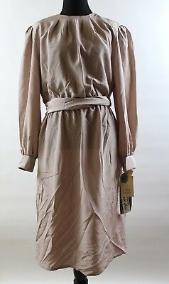 NWT Vintage Hal Ferman Tan Square Print Long Sleeve Tie Waist Dress 16