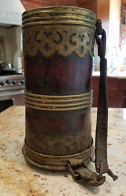 Antique Tibetan Travel Butter Churn or Travel Beer Mug, Bamboo Bronze Leather