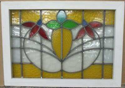 "MID SIZED OLD ENGLISH LEADED STAINED GLASS WINDOW Gorgeous Floral 28.5"" x 20.5"""