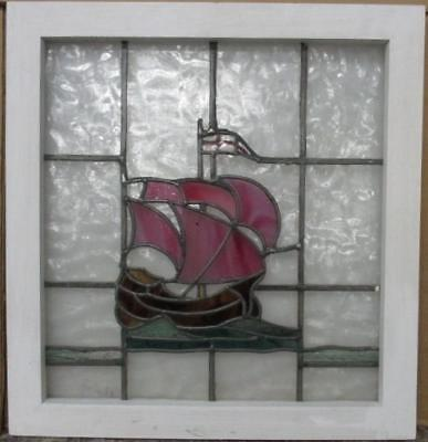 "MID SIZED OLD ENGLISH LEADED STAINED GLASS WINDOW Sailing Ship 22.25"" x 23.5"""