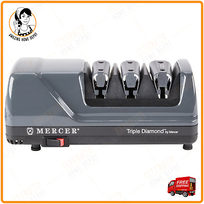 New Mercer Culinary Professional Electric Knife Sharpener Triple Diamond 3 Stage
