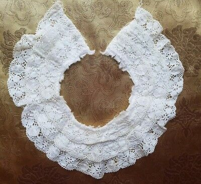 """A34 VTG Bobbin Lace Collar Ruffle Frilly 14"""" Doll Costume Salvage Trim"""