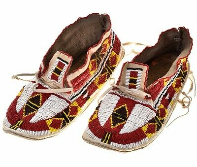 """Vintage Plains Indian Style 11"""" Moccasins Full Seed Beads Deerskin Leather c90s"""