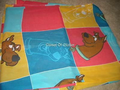 Vintage SCOOBY DOO Squares Cartoon Character Twin Flat bed Sheet {Fabric}
