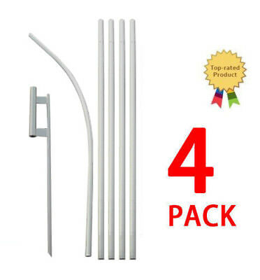 Feather Flutter Swooper Flag 16' POLE + SPIKE Ground Stake Mount KIT 4 PACK