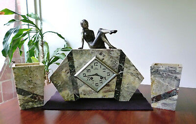 Art Deco French Marble Clock .. Home Decor .. 1920's - 30's .. Working