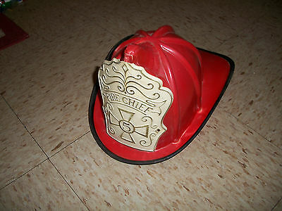 VINTAGE 1960'S Fire Chief Firefighter Helmet for childs toy w heavy wear