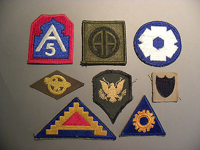Lot Of Eight Wwii Era Embroidered Military Patches