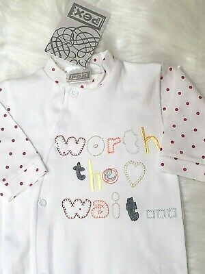 Baby Girl Clothes Sleepsuit All in One Baby grow white cotton Newborn 0-3m 3-6m