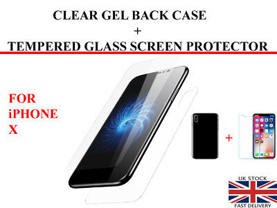 For Apple iPhone X Clear Back TPU Gel Case And Tempered Glass Screen Protector