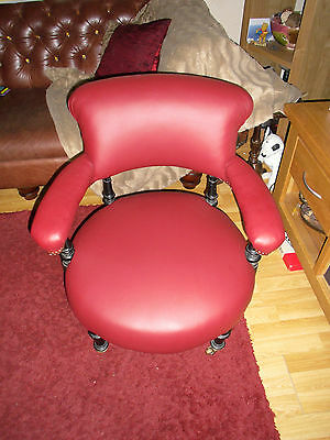 Victorian Captains chair ! In a beautiful Red Leather .