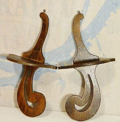 Vintage/Wall Shelf/Stained Wood/Sconce/Curio/Display/Shabby Cottage Chic/ Pair