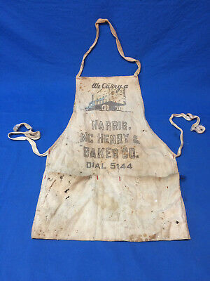 Vintage Lumber Yard Apron Carpenter Advertising Harris, MC Henry & Baker Co.