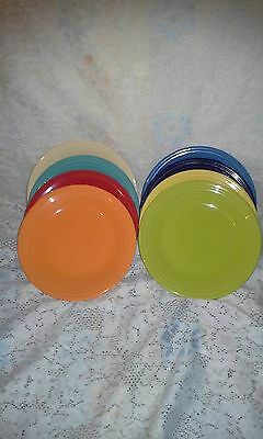 "8 DINNER PLATES set lot scarlet plum turquoise tangerine + FIESTA WARE 10.5"" NEW"