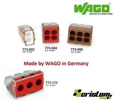 WAGO 773-602 773-604 773-606 Terminal boxes 4mm² or 6mm² 773-173 Three Pole Push