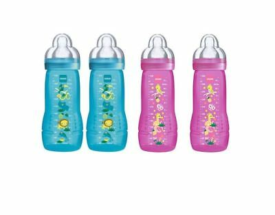 Mam Baby Bottles Toddler Child Easy Clean 330ml 2 Pack Blue