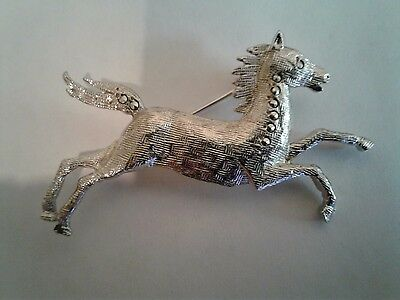 vintage horse pin silver with marcasites silver equestrian brooch jewelry