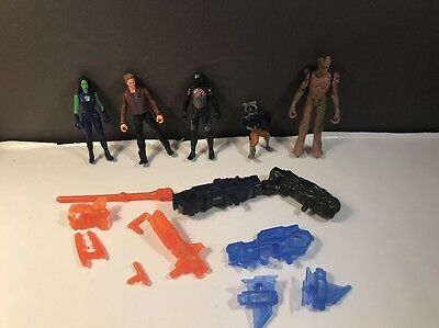 """Lot of 5 2013 Marvel Guardians Of The Galaxy 2"""" Action Figures w/Weapons Hasbro"""