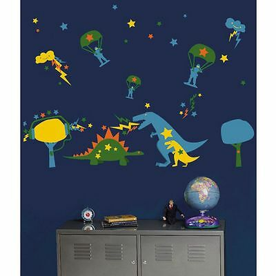 Wallies Wall Candy Dyno Mite Blue Green Kids Wall Stickers Bedroom Blue