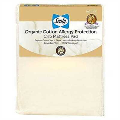 """Sealy Allergy Protection Crib Mattress Pad Cover with Organic Cotton Top 52""""x28"""""""