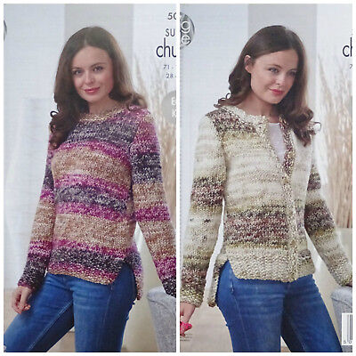 KNITTING PATTERN Ladies Easy Knit Long Sleeve Jumper &Cardigan Super Chunky 5028