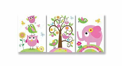 The Kids Room by Stupell Owls Birds And Elephant 3-Pc. Rectangle Wall Plaque ...