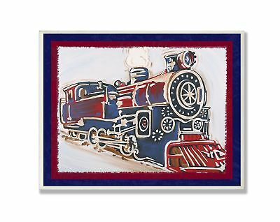 The Kids Room by Stupell Blue And Red Vintage Train Rectangle Wall Plaque 11 ...