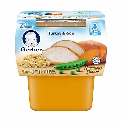 Gerber 2nd Foods Turkey & Rice 4 Ounce Tubs 2 Count (Pack of 8) Turkey Rice