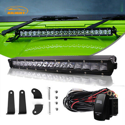 """17"""" 18"""" LED Single Row Light Bar Combo Lamp w/Wiring Kit For Offroad TRUCK JEEP"""