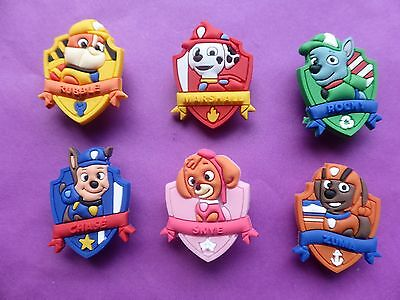 6 Paw Patrol jibbitz crocs wrist hair loom band shoe charms cake toppers