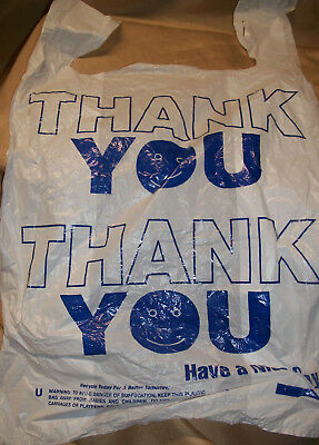 """100 ct  21"""" x 13""""  THANK YOU Grocery Retail Shopping Plastic Handle Bags"""