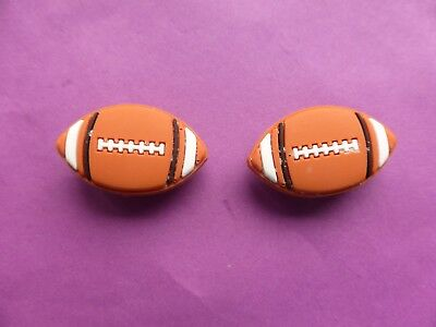 2 Rugby balls jibbitz crocs shoe charms wrist hair loom band cake toppers