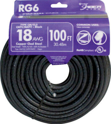 NEW! SOUTHWIRE Dual Shield RG6 Coax Cable 18/6 Black 100'  56918243